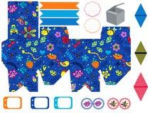 Σύνολο κομμάτων προτύπων κιβωτίων δώρων Στοκ Εικόνες