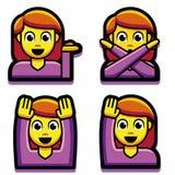 Σύνολο κοριτσιών Emoji που απομονώνεται στο άσπρο υπόβαθρο Στοκ φωτογραφία με δικαίωμα ελεύθερης χρήσης