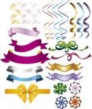 Σύνολο κορδελλών, τόξου και εμβλημάτων στα φωτεινά χρώματα Στοκ φωτογραφία με δικαίωμα ελεύθερης χρήσης