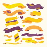 Σύνολο κορδελλών χρώματος για το κείμενό σας Στοκ Εικόνες