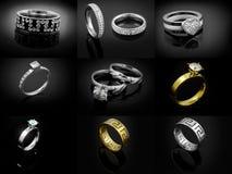 Σύνολο κοσμήματος δαχτυλιδιών - ένα υπόβαθρο χρώματος Στοκ φωτογραφίες με δικαίωμα ελεύθερης χρήσης
