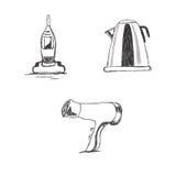 Σύνολο, κουζίνα, συσκευές, σκίτσο, διάνυσμα, απεικόνιση Στοκ Φωτογραφίες