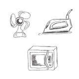 Σύνολο, κουζίνα, συσκευές, σκίτσο, διάνυσμα, απεικόνιση Στοκ φωτογραφία με δικαίωμα ελεύθερης χρήσης