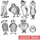 Σύνολο κουκουβαγιών και owlets κινούμενων σχεδίων doodle Στοκ Εικόνα