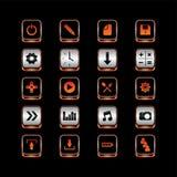 Σύνολο κουμπιών εικονιδίων θέματος μεταλλικών πιάτων Στοκ εικόνες με δικαίωμα ελεύθερης χρήσης