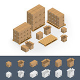 Σύνολο κουτιών από χαρτόνι εικονιδίων Στοκ εικόνα με δικαίωμα ελεύθερης χρήσης