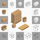 Σύνολο κουτιών από χαρτόνι εικονιδίων Στοκ Εικόνες