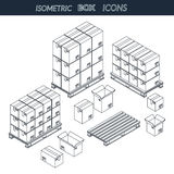 Σύνολο κουτιών από χαρτόνι εικονιδίων Στοκ Εικόνα