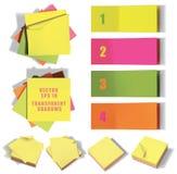 Σύνολο κολλωδών σημειώσεων Διανυσματική απεικόνιση με τις διαφάνειες Στοκ Εικόνες