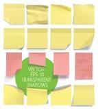 Σύνολο κολλωδών σημειώσεων Διανυσματική απεικόνιση με τις διαφάνειες Στοκ Φωτογραφία