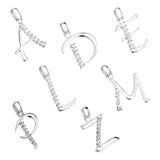 Σύνολο κρεμαστών κοσμημάτων με μορφή του αλφάβητου Στοκ Εικόνες