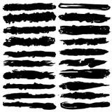 Σύνολο κτυπημάτων βουρτσών grunge, μαύρες βούρτσες μελανιού Στοκ Φωτογραφίες