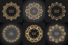 Σύνολο κυκλικών μπαρόκ σχεδίων Στοκ Εικόνες