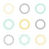 Σύνολο κυκλικών στεφανιών δαφνών σκιαγραφιών Στοκ φωτογραφία με δικαίωμα ελεύθερης χρήσης