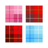 Σύνολο 4 κυττάρων σύστασης υφάσματος καρό με το κόκκινο της Σκωτίας λωρίδων Στοκ φωτογραφία με δικαίωμα ελεύθερης χρήσης