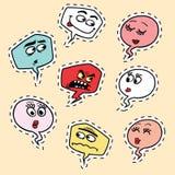 Σύνολο κωμικού smiley Emoji προσώπου φυσαλίδων emoticon Στοκ Εικόνα