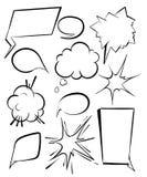 Σύνολο κωμικών φυσαλίδων και στοιχείων με τις ημίτοές σκιές stickers ελεύθερη απεικόνιση δικαιώματος