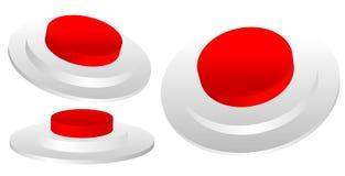 Σύνολο κόκκινης τρισδιάστατης έκτακτης ανάγκης, λήξη, κουμπί στάσεων βιομηχανικού διανυσματική απεικόνιση