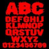 Σύνολο κόκκινου στερεωμένου τρομακτικού αλφάβητου διανυσματική απεικόνιση