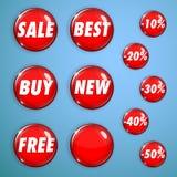 Σύνολο κόκκινων λαμπρών κουμπιών στην πώληση Στοκ εικόνα με δικαίωμα ελεύθερης χρήσης