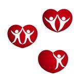 Σύνολο κόκκινων καρδιών - σύμβολα της ενέργειας ζωής, καρδιά με τη σκιαγραφία του ζεύγους, ανθρώπινο σύμβολο διανυσματική απεικόνιση