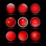 Σύνολο κόκκινων στρογγυλών κουμπιών για τον ιστοχώρο Στοκ εικόνα με δικαίωμα ελεύθερης χρήσης