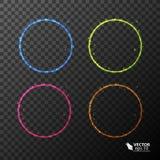 Σύνολο κύκλων νέου, διαφορετικά χρώματα Στοκ φωτογραφίες με δικαίωμα ελεύθερης χρήσης