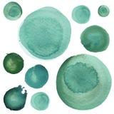 Σύνολο μέντας watercolor πράσινο, μπλε θάλασσας, κύκλοι aquamarine Watercolour γύρω από τα στοιχεία για το σχέδιο λογότυπων, εμβλ Στοκ Εικόνα