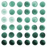 Σύνολο μέντας watercolor πράσινο, μπλε κύκλοι θάλασσας Στοκ Εικόνες