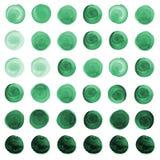 Σύνολο μέντας watercolor πράσινο, μπλε κύκλοι θάλασσας Στοκ Εικόνα
