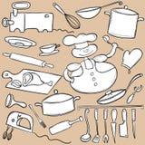 Σύνολο μαγειρέματος Doodle Στοκ φωτογραφία με δικαίωμα ελεύθερης χρήσης