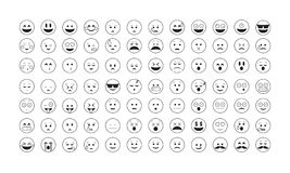 Σύνολο μαύρου διανύσματος emoticon Στοκ Φωτογραφίες