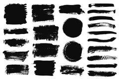 Σύνολο μαύρου χρώματος, κτυπήματα βουρτσών μελανιού, βούρτσες, γραμμές Βρώμικα καλλιτεχνικά στοιχεία σχεδίου, κιβώτια, πλαίσια γι ελεύθερη απεικόνιση δικαιώματος
