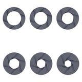 Σύνολο μαύρων εικονιδίων παραθυρόφυλλων καμερών στο λευκό απεικόνιση αποθεμάτων