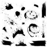 Σύνολο μαύρων λεκέδων και παφλασμών μελανιού. Στοκ Εικόνες