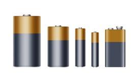 Σύνολο μαύρων κίτρινων χρυσών στιλπνών αλκαλικών μπαταριών της διαφορετικής μπαταρίας Αντιαεροπορικού Πυροβολικού, AA, Γ, Δ, PP3  ελεύθερη απεικόνιση δικαιώματος