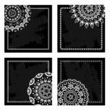 Σύνολο μαύρων κενών καρτών με τα μισά mandalas δαντελλών Στοκ Φωτογραφίες