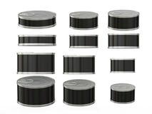 Σύνολο μαύρων κοντών κυλινδρικών δοχείων κασσίτερου στα διάφορα μεγέθη, clippi απεικόνιση αποθεμάτων