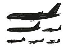 Σύνολο μαύρων σκιαγραφιών των αεροσκαφών σε ένα άσπρο υπόβαθρο col Στοκ Εικόνα