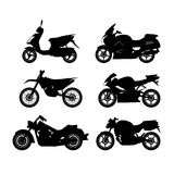 Σύνολο μαύρων σκιαγραφιών των μοτοσικλετών σε ένα άσπρο υπόβαθρο Στοκ Φωτογραφίες