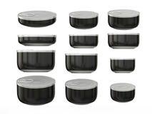 Σύνολο μαύρων στρογγυλών δοχείων κατώτατου κασσίτερου στα διάφορα μεγέθη, ψαλίδισμα PA Στοκ Εικόνες