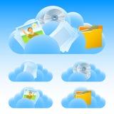 Σύνολο μεταβιβάσεων εγγράφων σύννεφων διανυσματική απεικόνιση