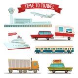 Σύνολο μεταφοράς - αεροπλάνο, τραίνο, σκάφος, αυτοκίνητο, φορτηγό και φορτηγό απεικόνιση αποθεμάτων