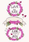 Σύνολο με τα λουλούδια, την καρδιά και τις κορδέλλες Διανυσματική απεικόνιση