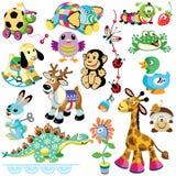 Σύνολο με τα παιχνίδια ζώων ελεύθερη απεικόνιση δικαιώματος
