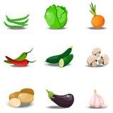 Σύνολο με τα φρέσκα healty λαχανικά Στοκ Εικόνα