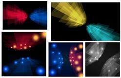 Σύνολο με τα λωρίδες προοπτικής Πέντε εμβλήματα για το σχέδιό σας Στοκ Εικόνες