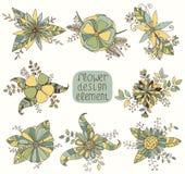 Σύνολο με τα όμορφα συρμένα χέρι λουλούδια Στοκ Εικόνα