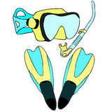 Σύνολο με την κολύμβηση με αναπνευστήρα των αγαθών επίσης corel σύρετε το διάνυσμα απεικόνισης Στοκ εικόνα με δικαίωμα ελεύθερης χρήσης