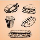 Σύνολο με τη συρμένη χέρι απεικόνιση γρήγορου φαγητού Διανυσματική απεικόνιση σκίτσων Εστιατόριο γρήγορου φαγητού, επιλογές γρήγο Στοκ φωτογραφία με δικαίωμα ελεύθερης χρήσης